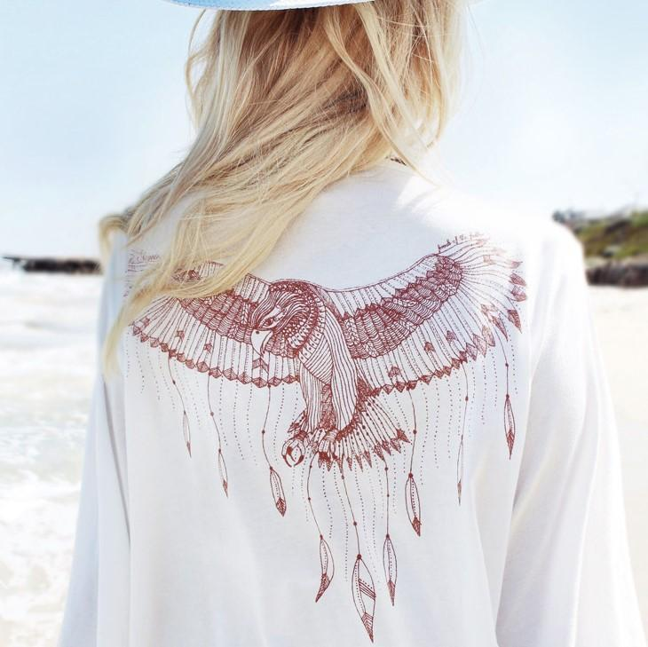 Boho Lace Details Flare Sleeve Eagle Print Beach Cover Up Stella - White