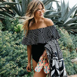 Geometric Design Off Shoulder Chic Ruffle Swimsuit Infinity - Black