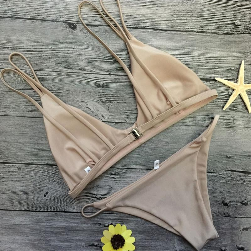 Double Strap Low Waist Golden Bright Bikini - Gold