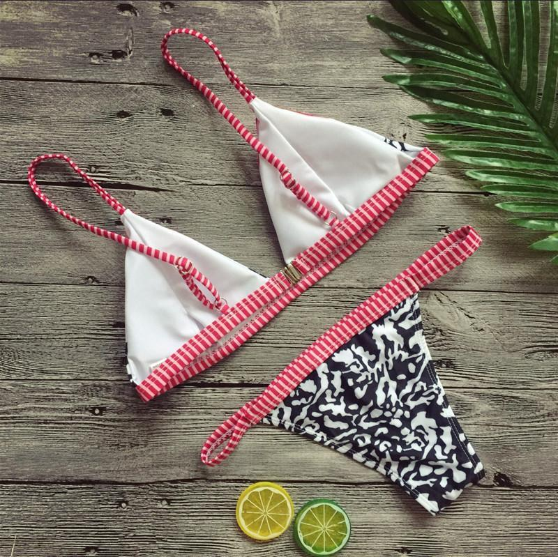 Cute Stripe Triangle Bikini Rosie Hot - Pink
