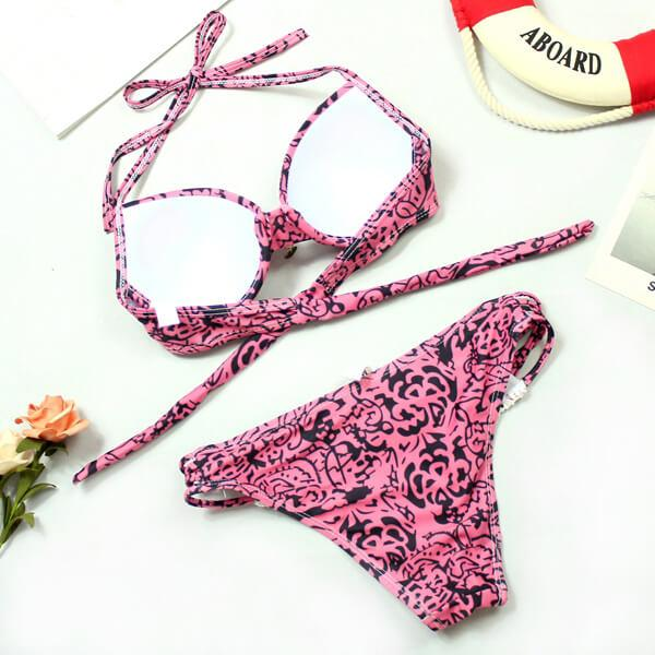 Knitted Details Underwire Tribal Print Bikini - Pink