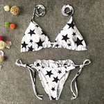 Stars Ruffle Bikini Amura - Black And White