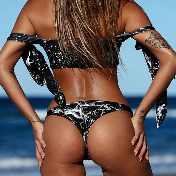 Reversible Knot Constellation Thong Bikini - Black