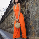 Plunge Neck Sleeveless Wide Leg Jumpsuit Nichole - Orange