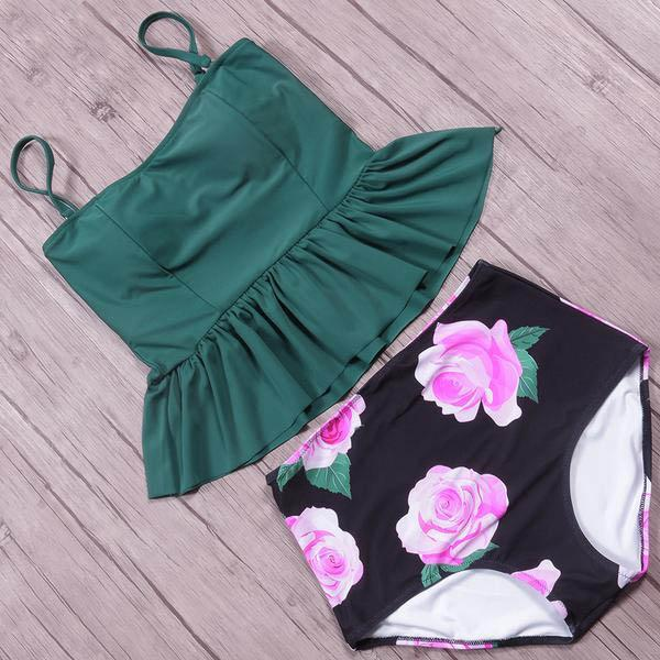 fe382c26a5 Rose Print High Waist Long Ruffle Top Bikini Set Katelymn - Green ...