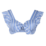Stripe Knot Crop Top Amber - Blue And White