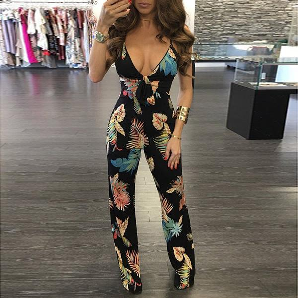 Sexy Back Cross Lace Plung Neck Wide Leg Floral Jumpsuit Malika