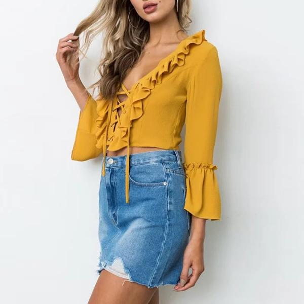 Flair Sleeve Lace Up Ruffle Crop Top Audriana - Yellow