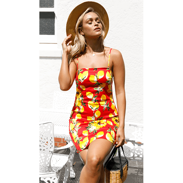 Sexy Bodycon Backless Lemon Sun Dress Maria - Red
