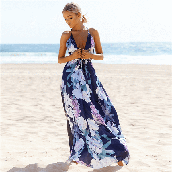 Plunge Neck Back Cross Lace Floral Long Dress Crystal - Blue