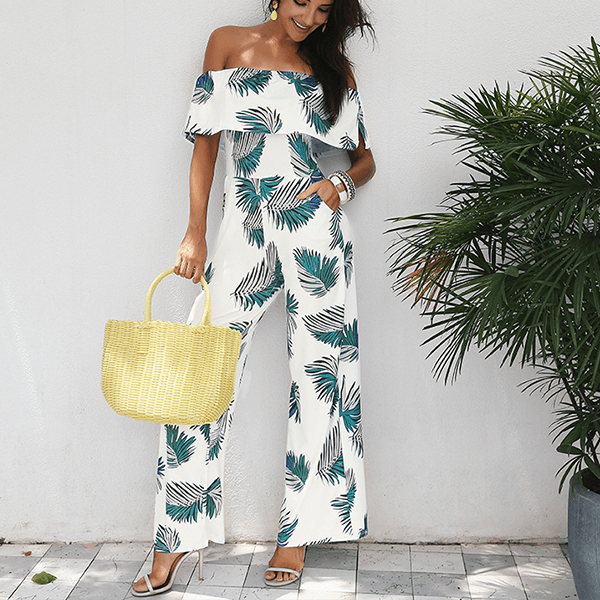 Elegant Off Shoulder Leaf Print Ruffle Jumpsuit - White