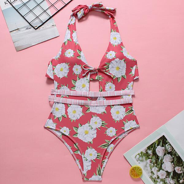 Multi Strap Back Floral One Piece Evelyn