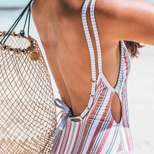 Double Straps Striped One Piece Isabella