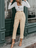 HIGH WAIST BUTTON DETAIL PANTS