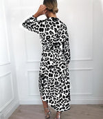 LEOPARD PRINT RUFFLE WRAP DRESS