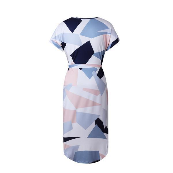 Originl Elegant Short Sleeve Geometric Pattern Asymetric Dress Zahia