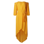 Off Shoulder Cut Out Belted Ruffle Long Dress Kelsey - Yellow