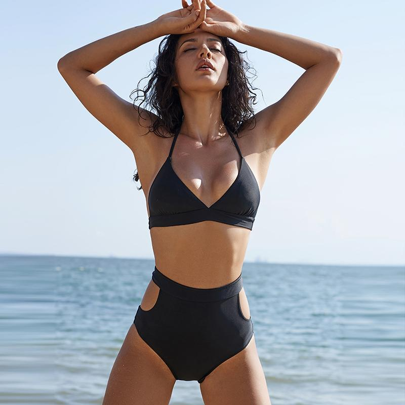 Black Solene Waist High Cut Bikini Out KJ1Tl3Fcu