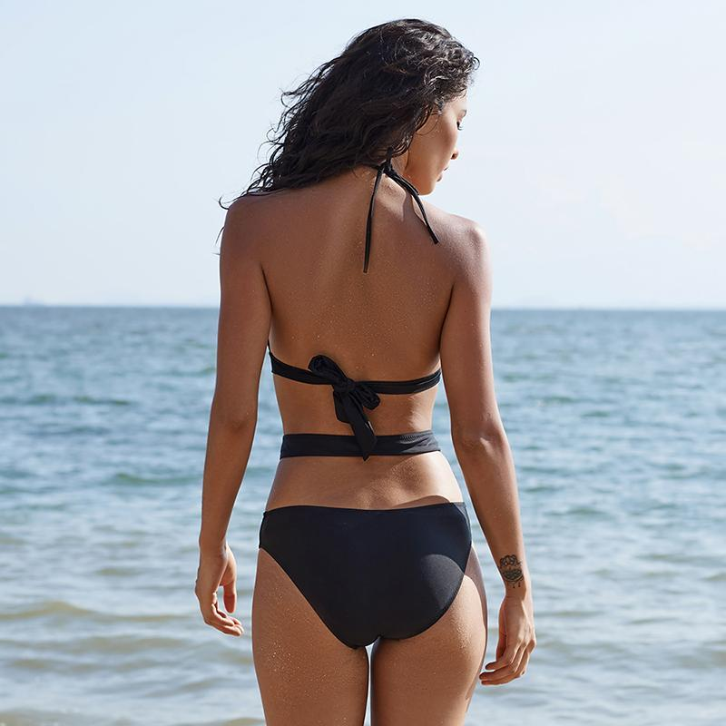 High Waist Cut Out Bikini Solene - Black