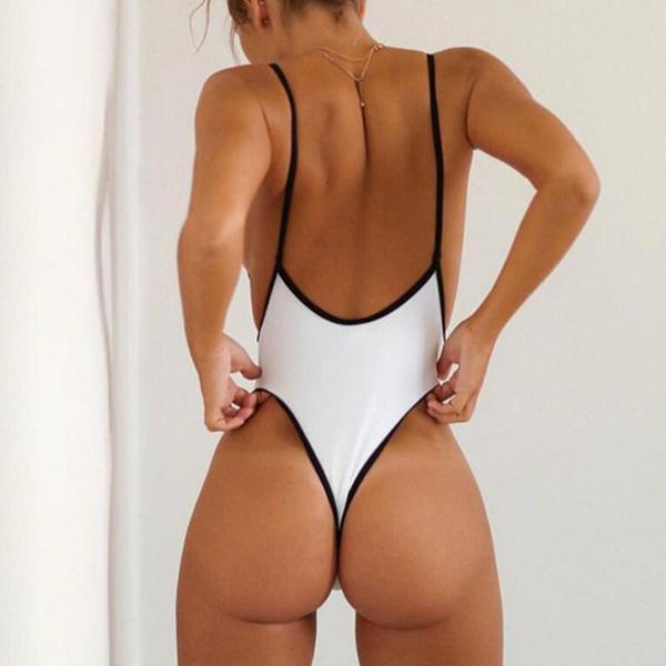 Sexy Plunge Neck High Leg Thong Swimsuit Frederic
