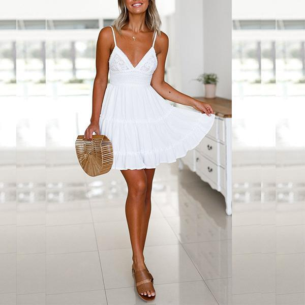 Adorable Spaghetti Strap Back Knot Lace Details Summer Dress Vanilla - White
