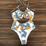 Cut Out Front Knot RUffle Floral Swimsuit Mila