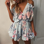 Off Shoulder V Neck Backless Loose Floral Romper - Light Blue