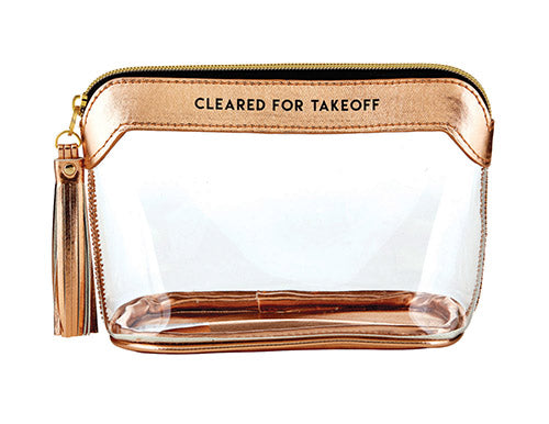 Clear Travel Pouch - Cleared for Takeoff - Rose Gold