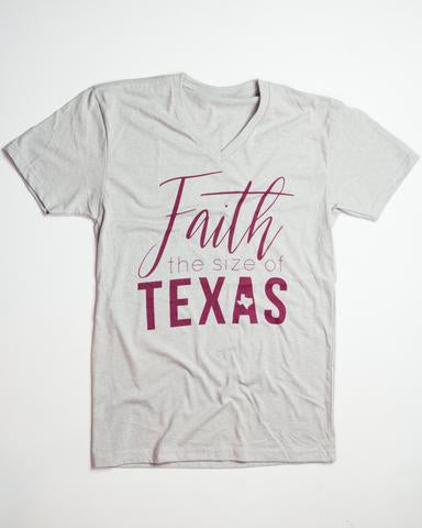 Faith The Size of Texas T-shirt Athletic Grey V-Neck