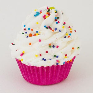 Mini Vanilla Cupcake Bath Bomb- White with Sprinkles