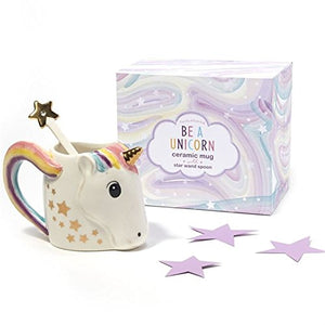 A UNICORN MUG WITH METALLIC STAR STIRRER IN GIFT BOX