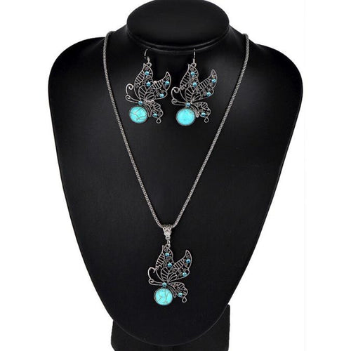Butterfly Turquoise Earrings Turquoise Necklace Sets