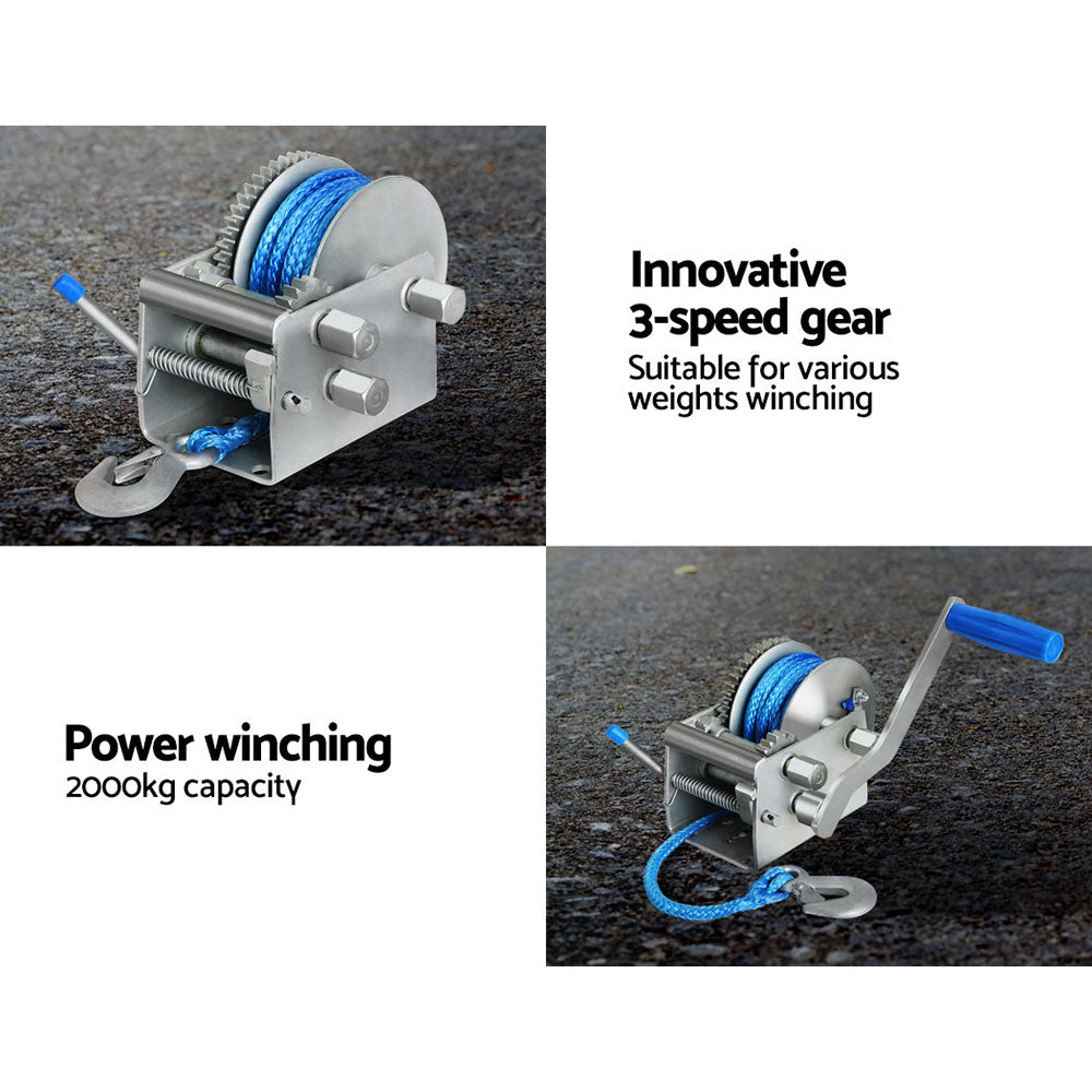 Giantz 3 Speed Hand Winch Synthetic Rope - Ausshopper
