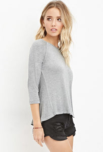 Grey Slub Knit Top
