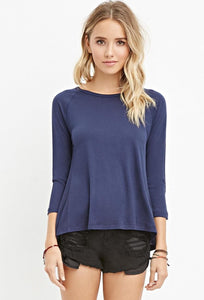 Blue Slub Knit Top