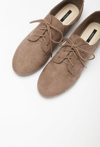 Faux Suede Oxfords Brown