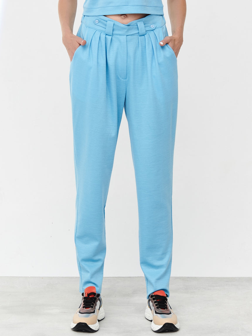 HEAVEN BLUE RAMIE PLEATED TROUSERS - LIMITED
