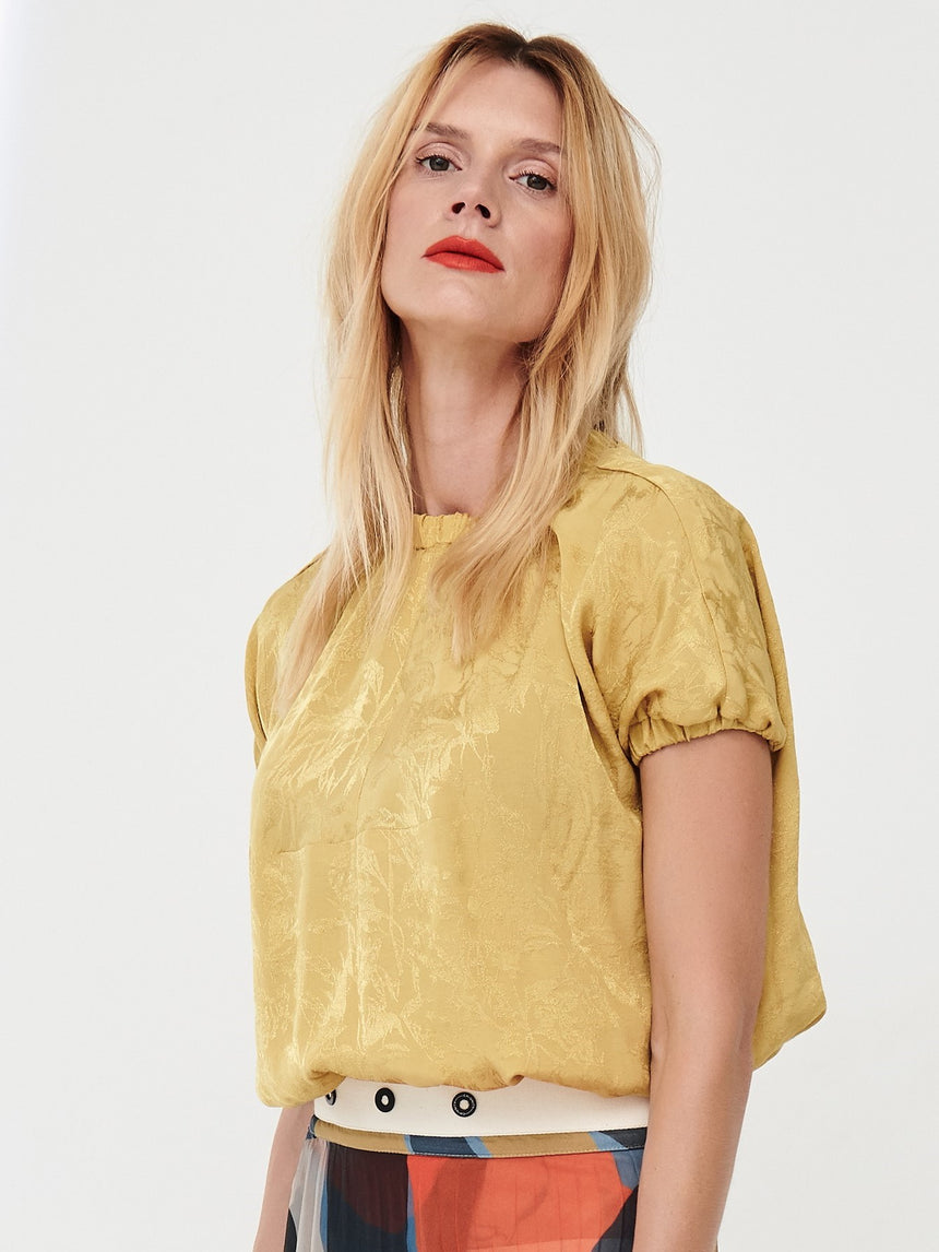 GOLD JACQUARD BLOUSE