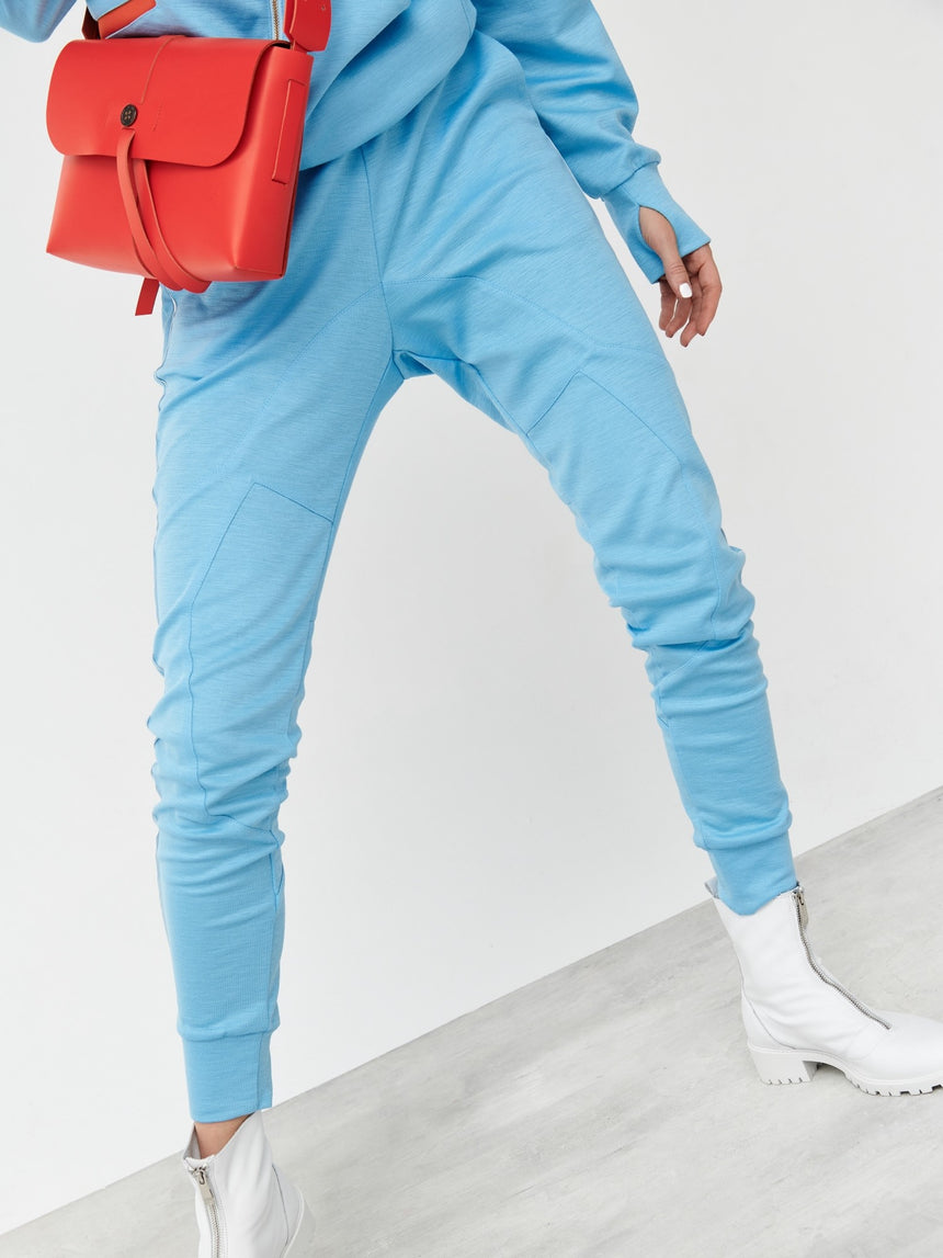 HEAVEN BLUE RAMIE CUT TROUSERS - LIMITED