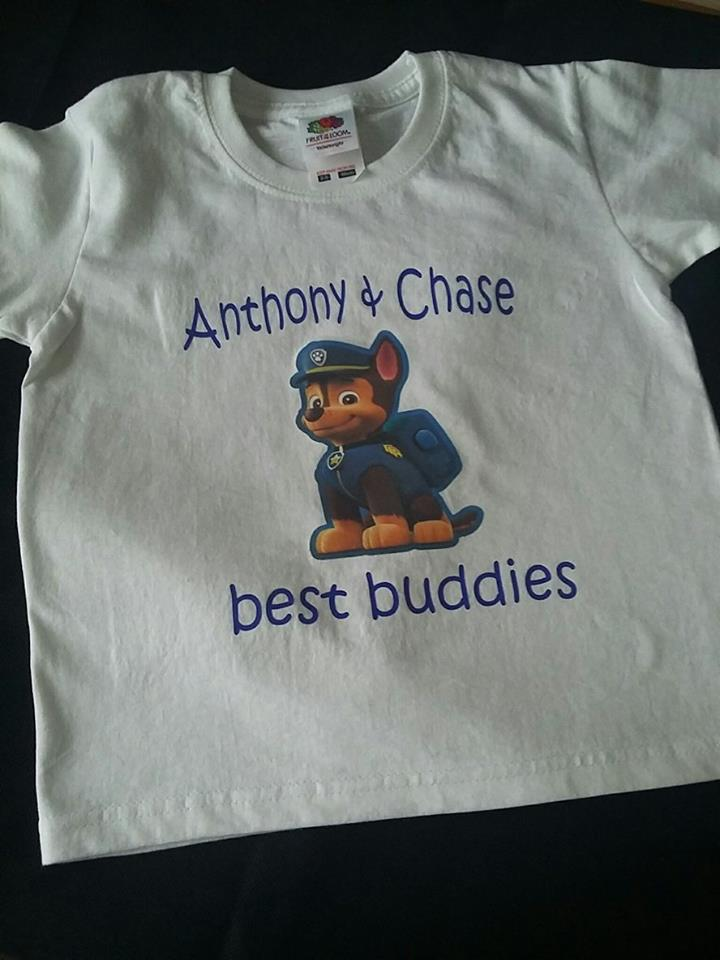 PERSONALISED HAPPY BIRTHDAY T SHIRT WITH CHASE FROM PAW PATROL