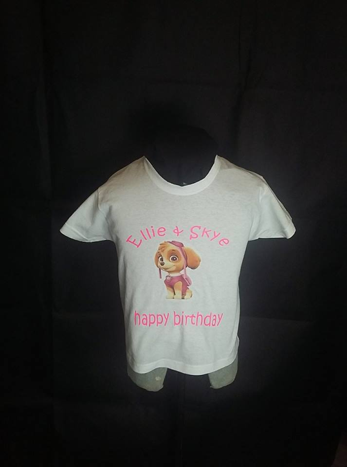 PERSONALISED HAPPY BIRTHDAY T SHIRT WITH SKYE FROM PAW PATROL