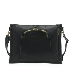 Vienna in Black - Medium Boho Style Messenger Bag