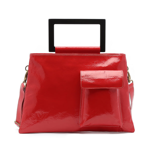 Paris -  Leather Large Convertible Tote / Messenger Double Bag (Red)