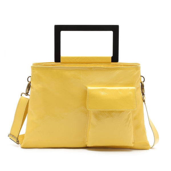 Paris - Handmade Leather Large Convertible Tote / Messenger Double Bag (Yellow)