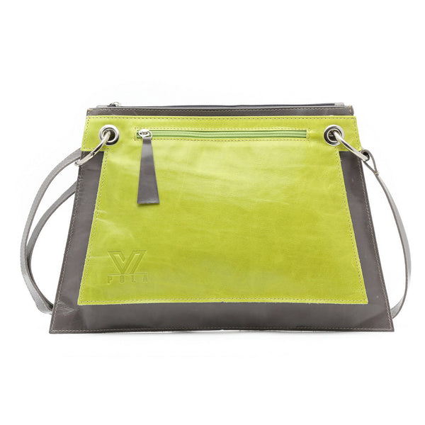 Double Green Gray Convertible Bag, Pouch Bag, Crossbody Bag, iPad Bag, Messenger Bag, Handmade Tote, Leather purse, Medium Travel Bag