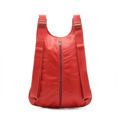 Red Leather Backpack, Travel Backpack, School Bag, Turtle Backpacks, Backpack for Women,  Handmade Backpack, Italian Leather