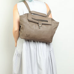 Taupe Women's Messenger Bag, Genuine Leather Bag, Handmade Bag, Crossbody Bag, Everyday Bag, Office Bag, College Bag, Tote
