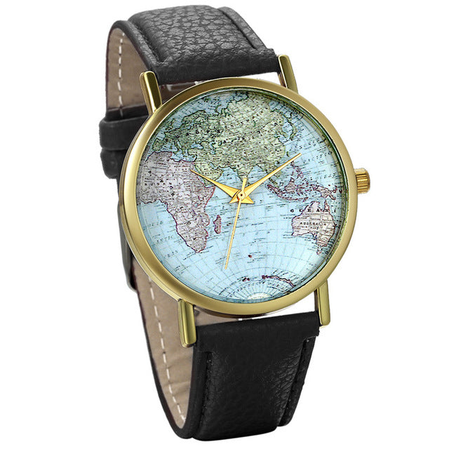 Leather World Map Watches for Women - AppleMango Hive
