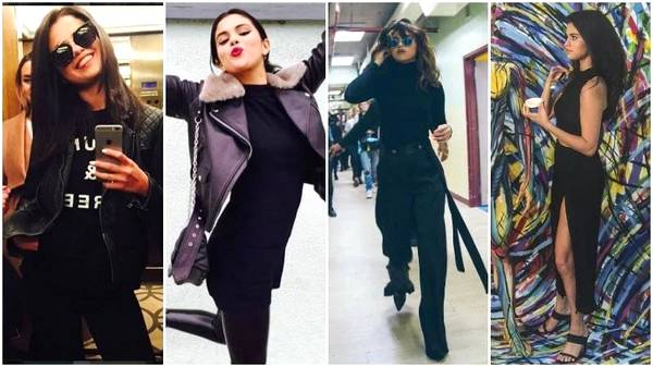 All Black Outfits with Selena Gomez