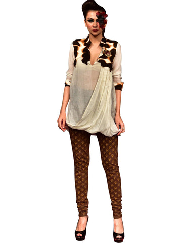 Patch Work Draped Top With Leggings by Abhishek Dutta - Wear.Style